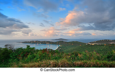 St Thomas sunset - Virgin Islands St Thomas sunset mountain...