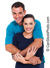 cheerful couple on white background - portrait of cheerful...