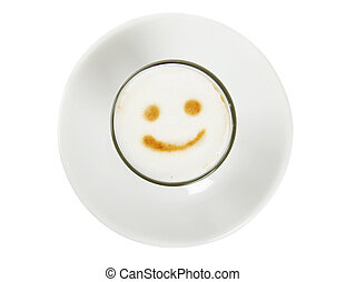 Coffee smile - Cup of coffee with funny smile isolated