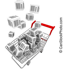 Shopping cart and cubes with bar-codes