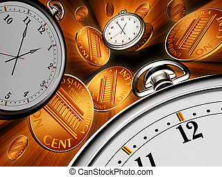 Time is money - Stop watches and coins on black background