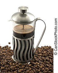 French press with coffee - French press with hot coffee and...