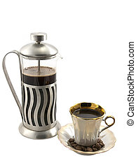 French press with cup of coffee on white