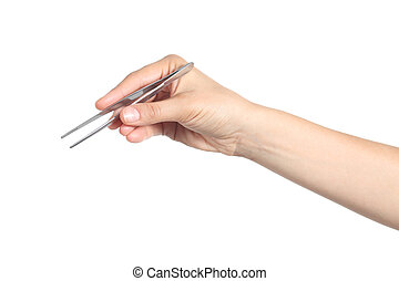 Woman hand using a tweezers - Woman hand using a small...
