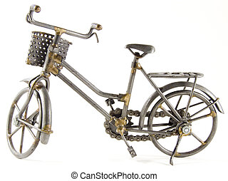 Toy bicycle with isolated path - bicycle made with garbage...