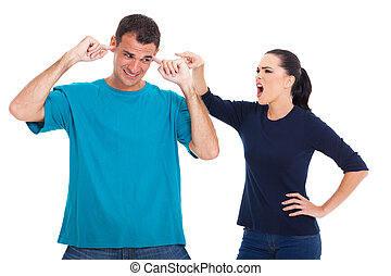 couple having an argument - unhappy couple having an...