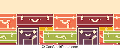 Colorful luggage horizontal seamless pattern background...
