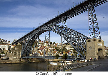 Oporto View with D Luis Bridge in the foregound - Portugal