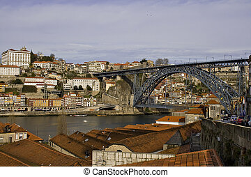 Oporto View with D. Luis Bridge in the background - Portugal