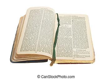 Antique prayer book open on an Easter prayer