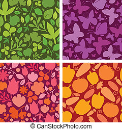 Vector set of four plants and butterflies seamless patterns...