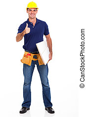carpenter giving thumb up - experienced carpenter giving...