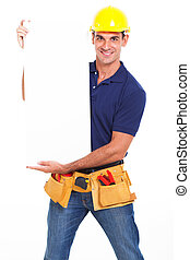 handyman holding banner - young handyman holding a banner...