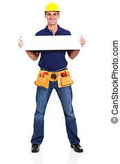 construction contractor holding banner - handsome...