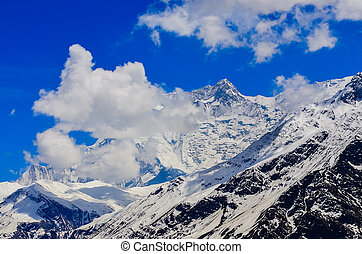 Detail view of Himalayas mountain peak covered in snow -...
