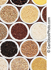 Health Food - Grain food selection in white china porcelain...