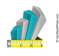 Tape measure bar graph concept illustration