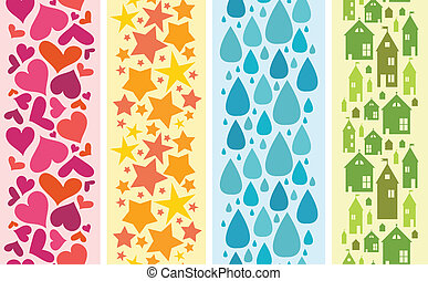 Set of four colorful horizontal seamless patterns borders -...