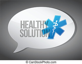 healthy solution message illustration design over grey