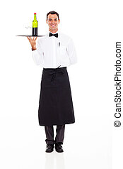 wine steward - handsome wine steward with tray of wine and...
