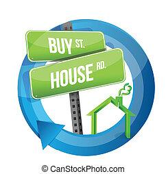 buy house real estate road symbol illustration design over...