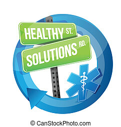 healthy solution road symbol illustration design over white