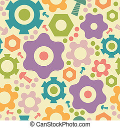 Cogwheels and gears seamless pattern background