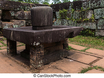 Linga in the Yoni at My Son Cham Sanctuary - Vietnam, Linga...