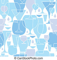 Water glasses line art seamless pattern background - Vector...