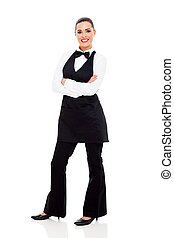 beautiful waitress full length portrait - beautiful young...