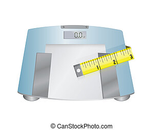 weight scale and measure tape illustration