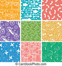 Set of nine seamless patterns backgrounds
