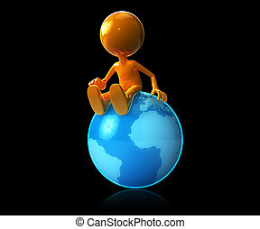 3d man sitting on earth