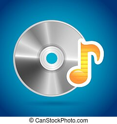 compact disc design over blue backgroun vector illustration