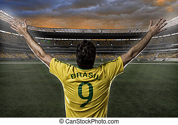 Brazilian soccer player, celebrating with the fans.
