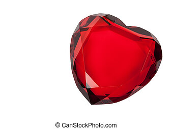 Red Glass Heart Isolated on White - Red cut glass heart...