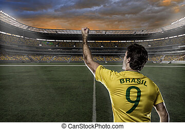 Brazilian soccer player, celebrating with the fans