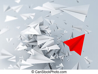 3d paper plane cut art concept abstract background