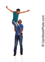 young african american couple having fun on white background