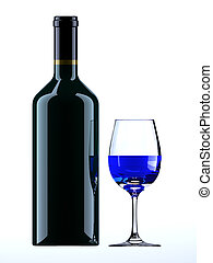 3d wine bottle and blue wine, glass - wine, glass
