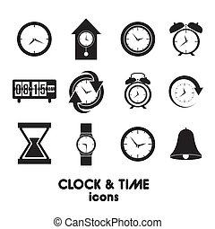 clock and time icons over white background vector...