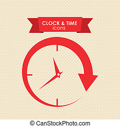 clock and time icon over white background vector...