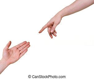 deux, mains, Atteindre