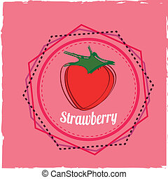 strawberry icon on pink special background