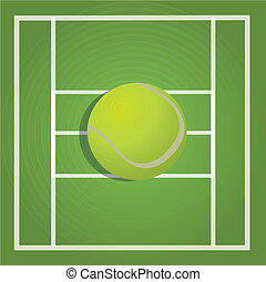 tennis ball on green ground background
