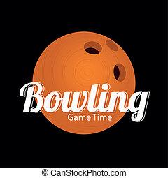 orange bowling ball on black background