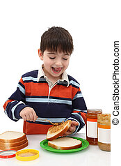 Adorable 5 Year Old Making Peanut Butter Jelly Sandwich -...