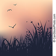 Sunset with grass and flying seagulls - Illustration sunset...