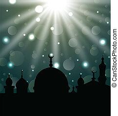 Celebration glowing card for Eid Ul Adha festival -...