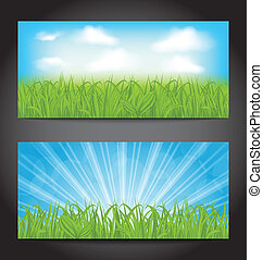 Set summer cards with grass, natural backgrounds